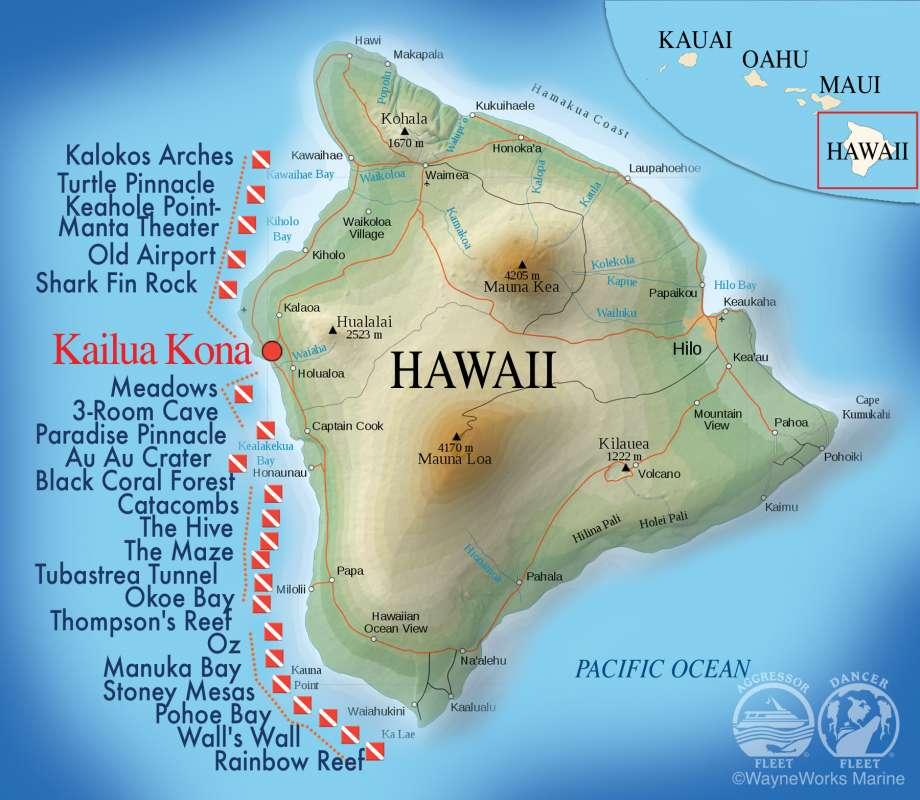ハワイ島ダイビングマップ1-1